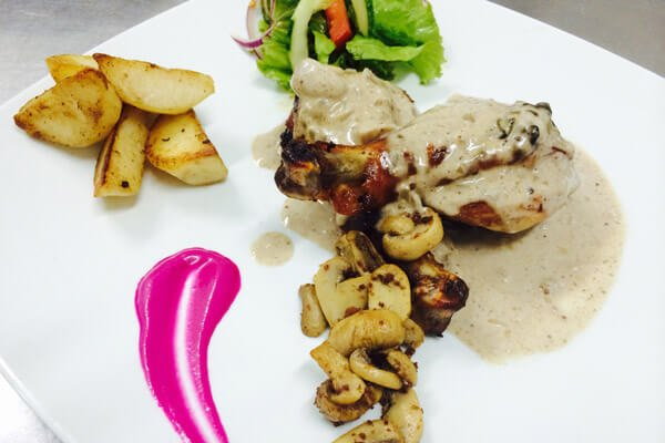Hotel La Roussette Dinner Chicken and Mushroom Sauce
