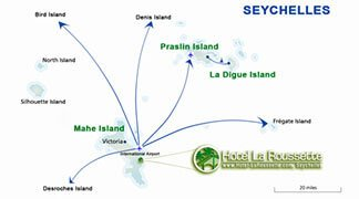 Seychelles map of the main islands for your holiday
